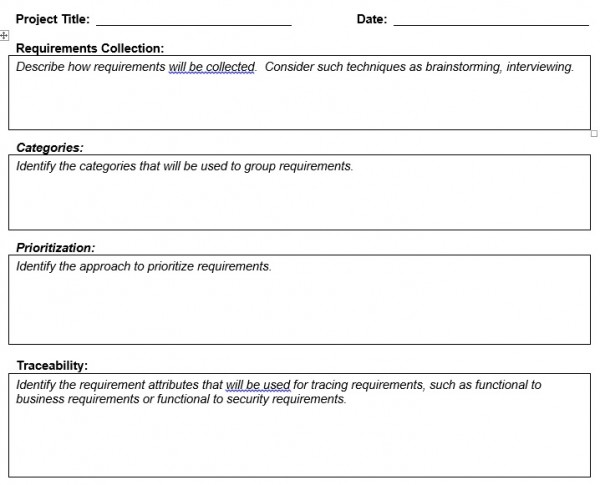 Requirement Management Plan Template - Planning Engineer Est - management plan template