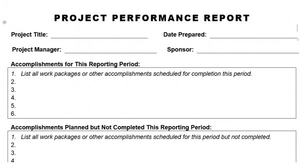 PROJECT PERFORMANCE REPORT - Planning Engineer Est
