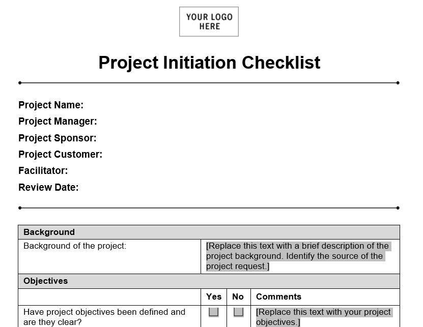 Project Initiation Checklist - Planning Engineer Est