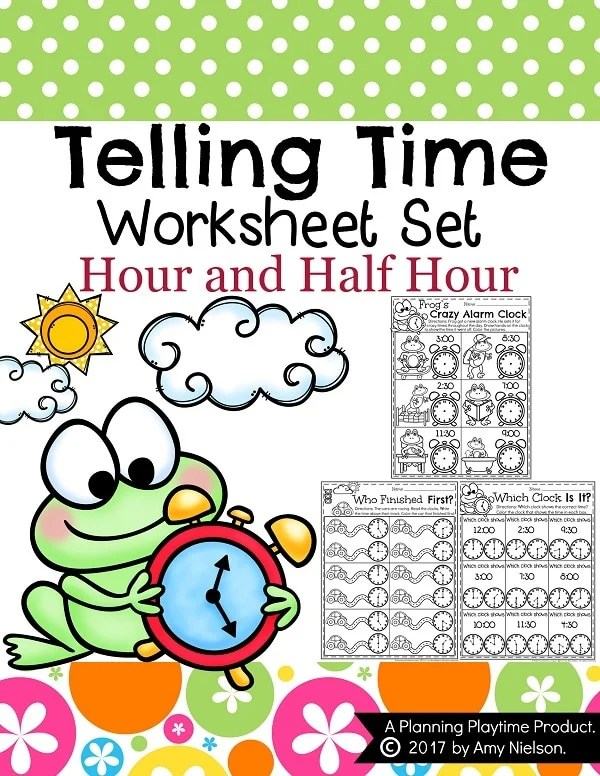 Telling Time Worksheets - Planning Playtime - time worksheets