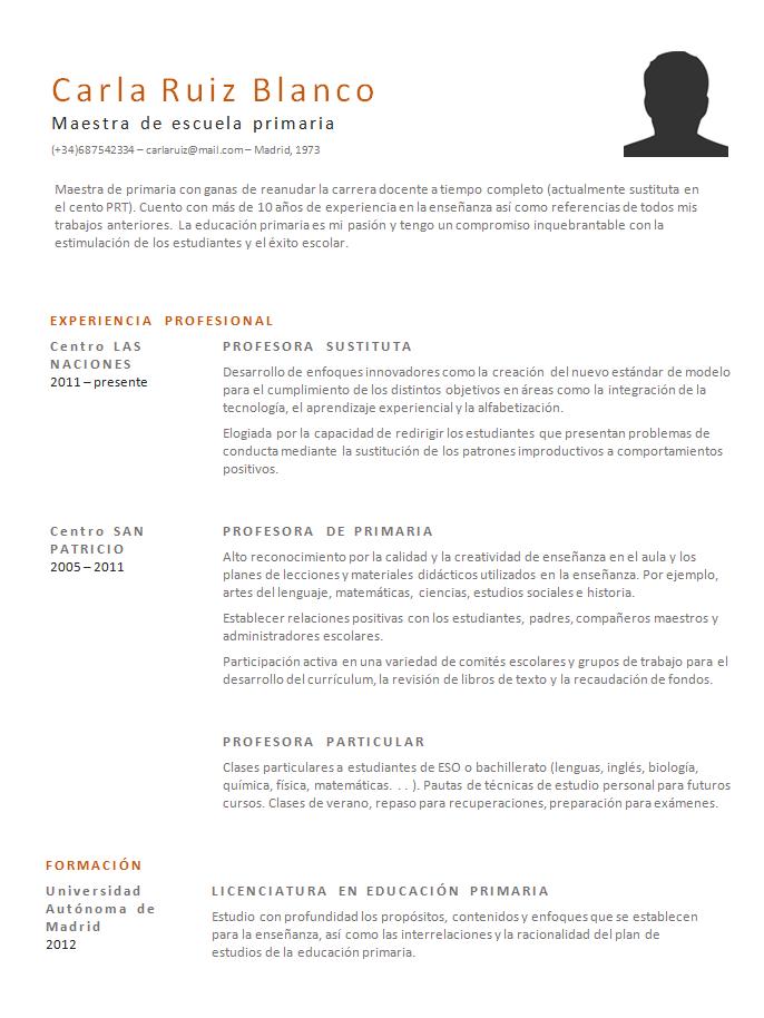 Ejemplo De Un Curriculum Vitae En Blanco | Resume Pdf Download
