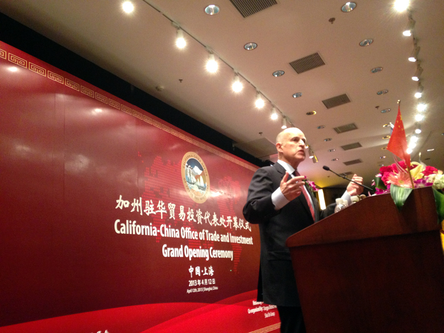 Governor Brown speaks at the opening ceremony of the California-China Office of Trade and Investment in Shanghai.