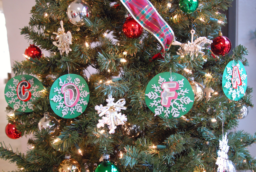 """C-D-F-A"" spelled out in ornaments on the tree at the Center for Analytical Chemistry."