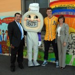 """Joining """"Thermy"""" for a photo-op are (from left) FSIS Administrator Al Almanza, Oakland A's rookie Mark Canha, and CDFA Secretary Karen Ross."""