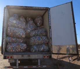 A load of beverage containers stopped at CDFA's Border Protection Station at Blythe .