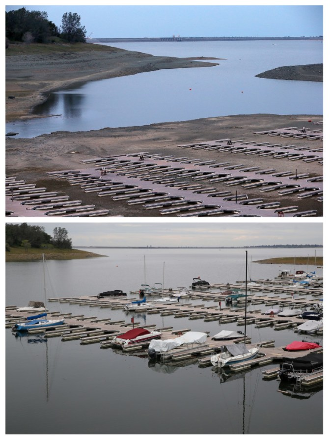 March 2014: (TOP PHOTO) Empty boat docks at the Folsom Lake Marina sit on the dry lakebed of Folsom Lake. APRIL 11, 2017: (BOTTOM PHOTO) Boats sit docked at the Folsom Lake Marina.  (Photo by Justin Sullivan/Getty Images)