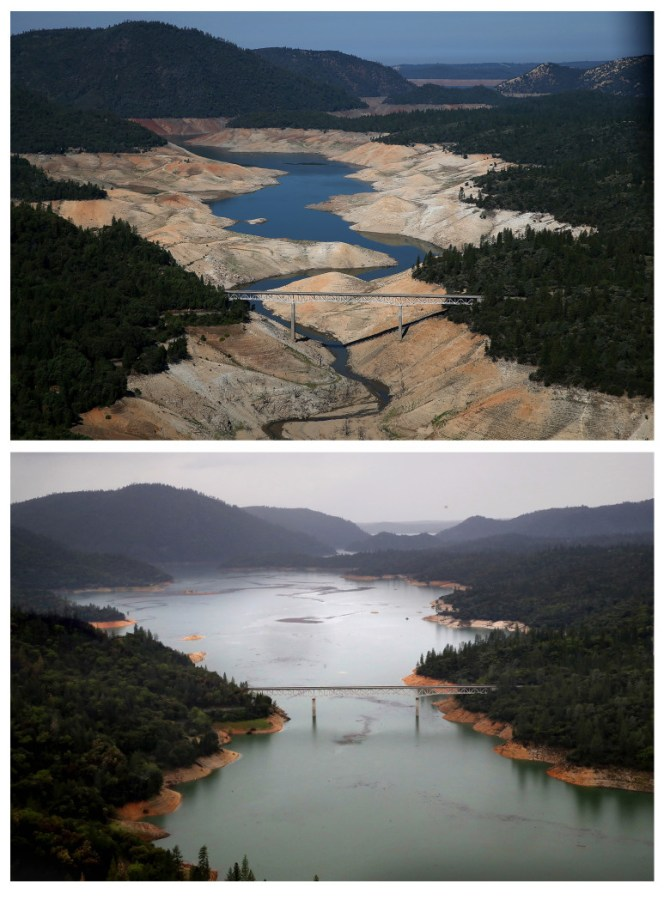 AUGUST 19, 2014:  (TOP PHOTO) The Enterprise Bridge passes over a section of Lake Oroville that is nearly dry. (Photo by Justin Sullivan/Getty Images)   APRIL 11, 2017: (BOTTOM PHOTO) The Enterprise Bridge passes over the same section of Lake Oroville. (Photo by Justin Sullivan/Getty Images)