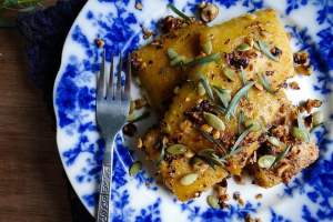 "Pumpkin Ravioli and Hazelnut Tarragon ""Butter"""