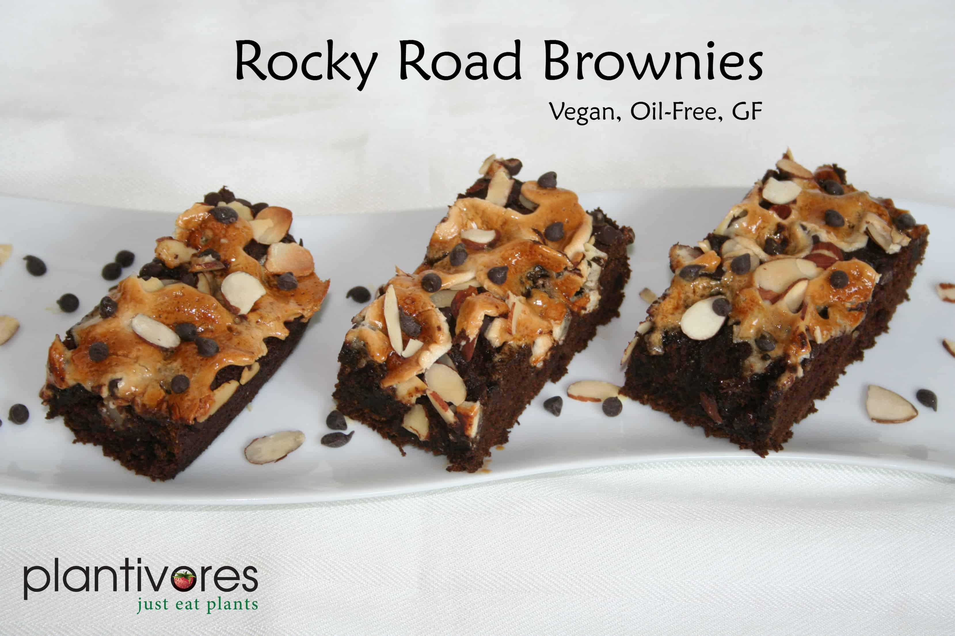Rocky Road Brownies (Vegan, Oil-Free, Gluten-Free) - Plantivores