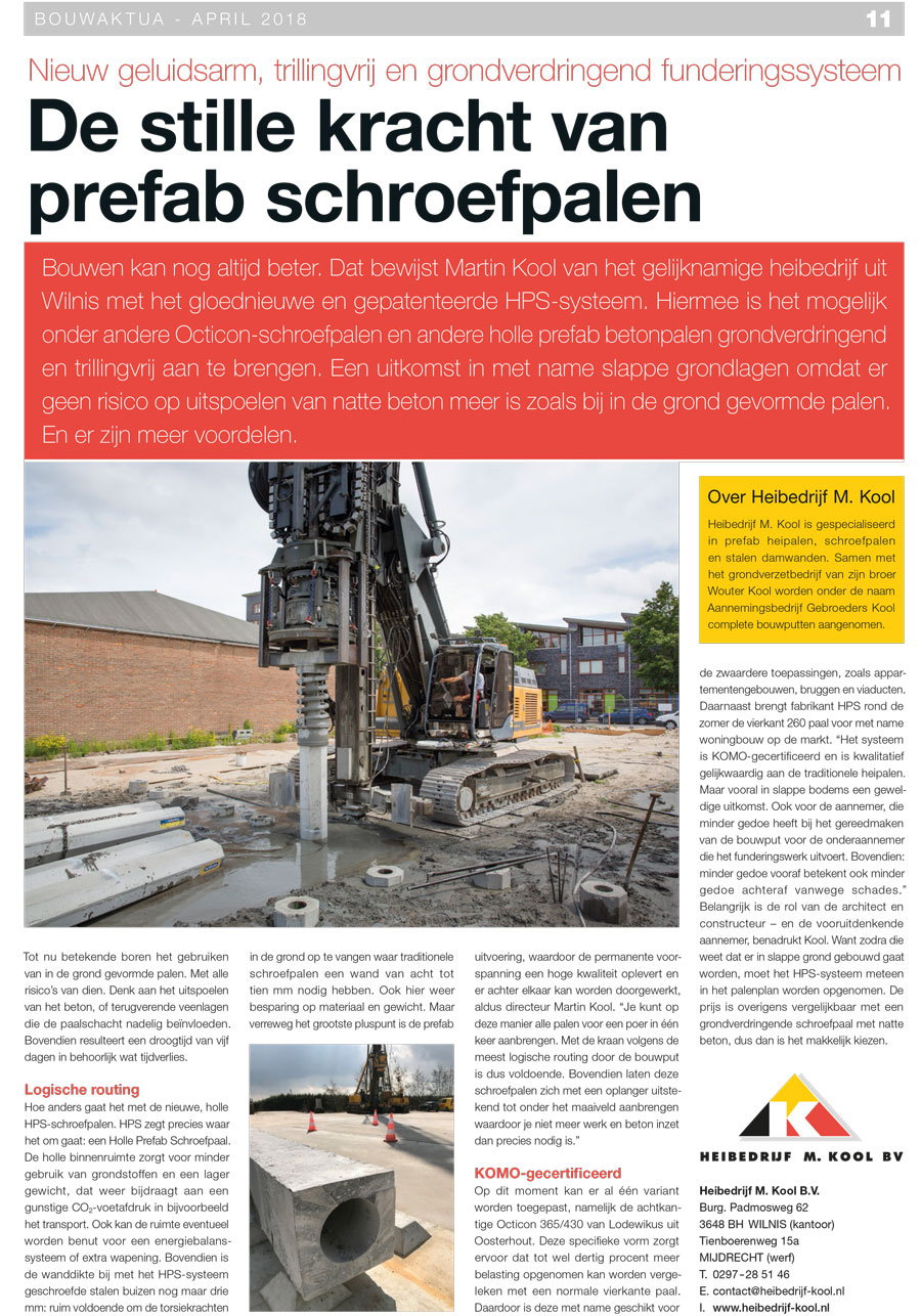 Prefab Betonpalen Hps Systeem In Bouwaktua April 2018