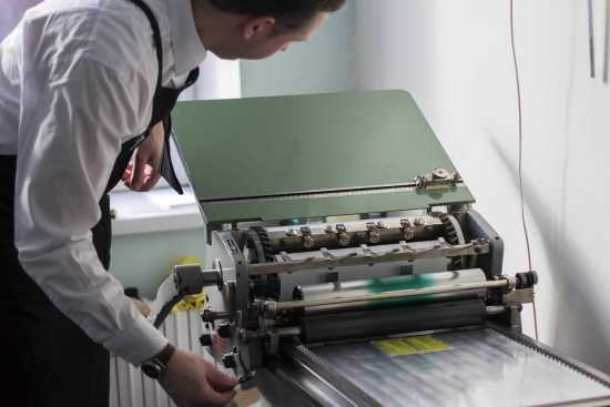 Egor operating the Korrex Stuttgart 1968 press
