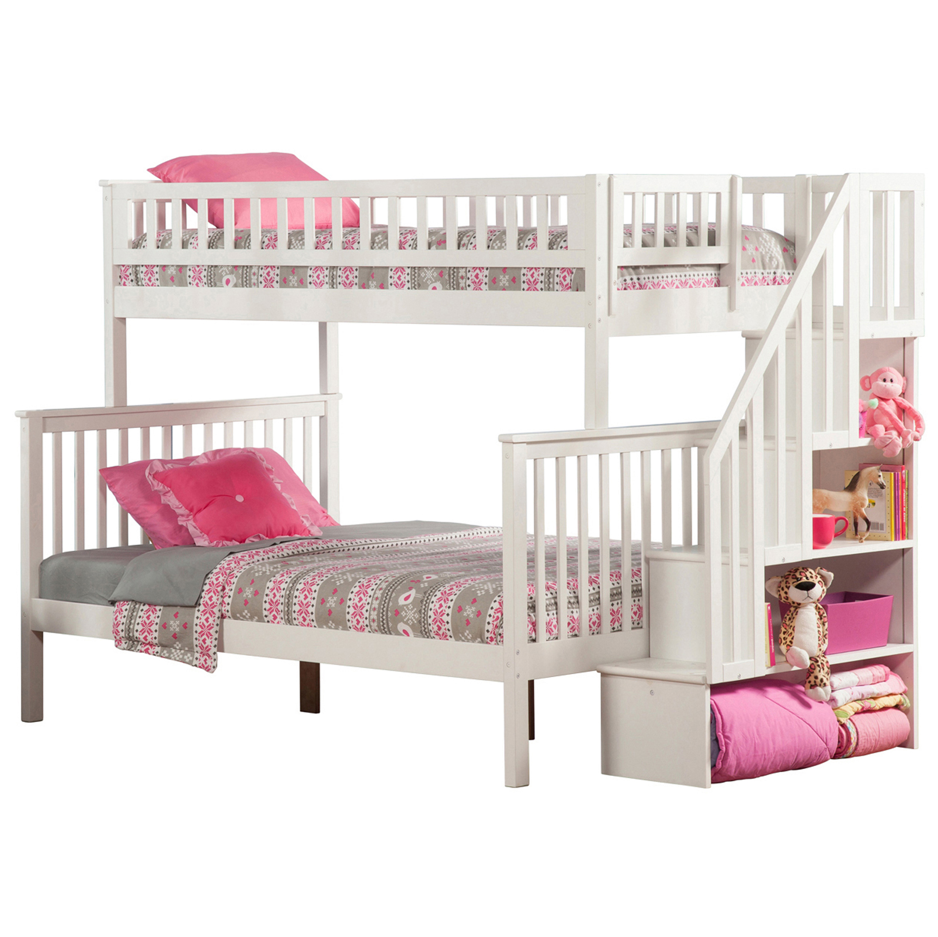 White Twin Bed With Storage Woodland Twin/full Staircase Bunk Bed - White Ab56702