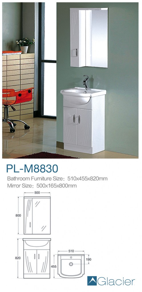 Frameless Mirror 36 X 60 Glacier Mika Pl M8830 White Solid Wood Sink Cabinet Unit