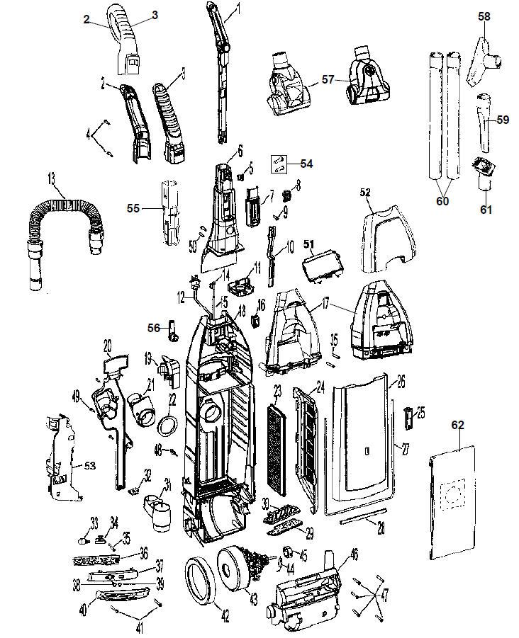 hoover windtunnel bagged diagram