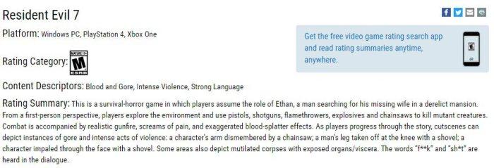 resident evil 7 rating esrb