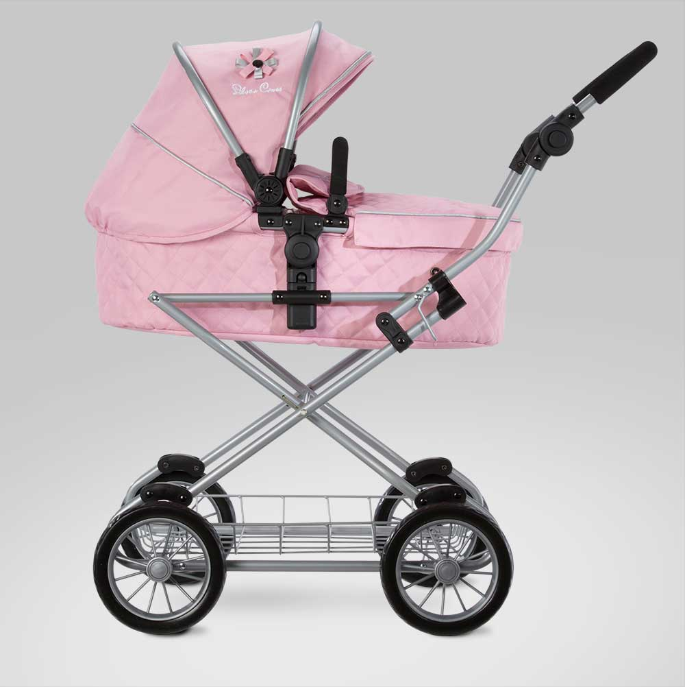 Vintage Toy Stroller Silver Cross Sleepover Travel System Dolls Pram In Vintage Pink