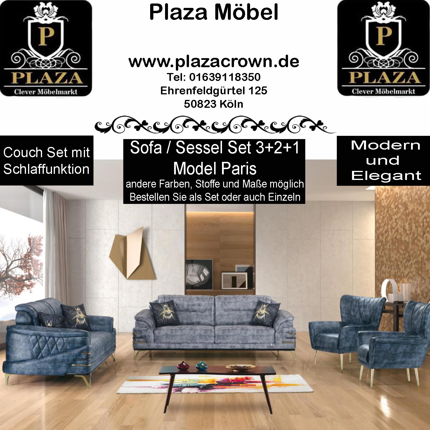Moderne Couch Garniture Sofa Sessel Schlafsofa Model Paris Plazacrown