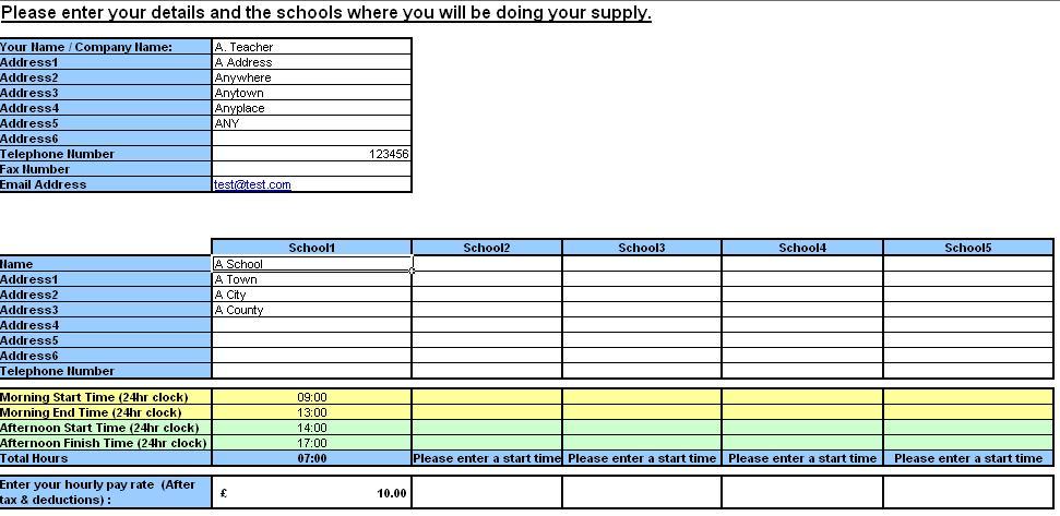 Teacher Resource Supply Teacher TimeSheet and Invoice Generator