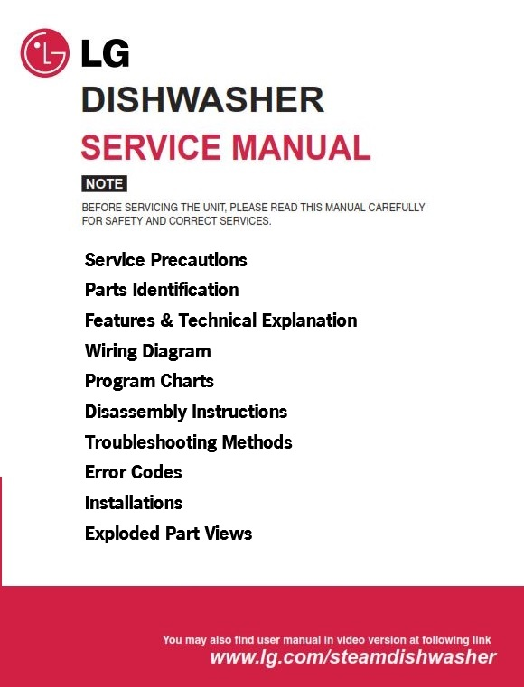LG LDF6920ST Dishwasher Service Manual and Troubleshooting Guide