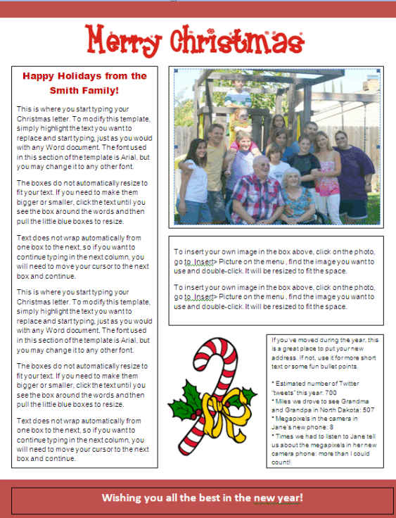 Christmas Newsletter Template - Candy Cane Other Files Documents