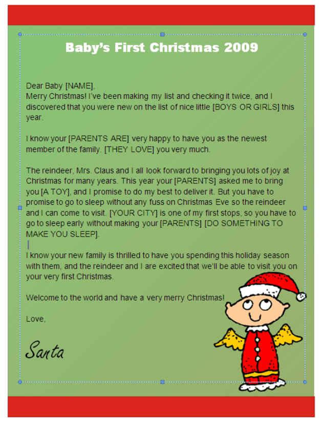 Babys First Christmas Letter from Santa (Angel Design) Other Files