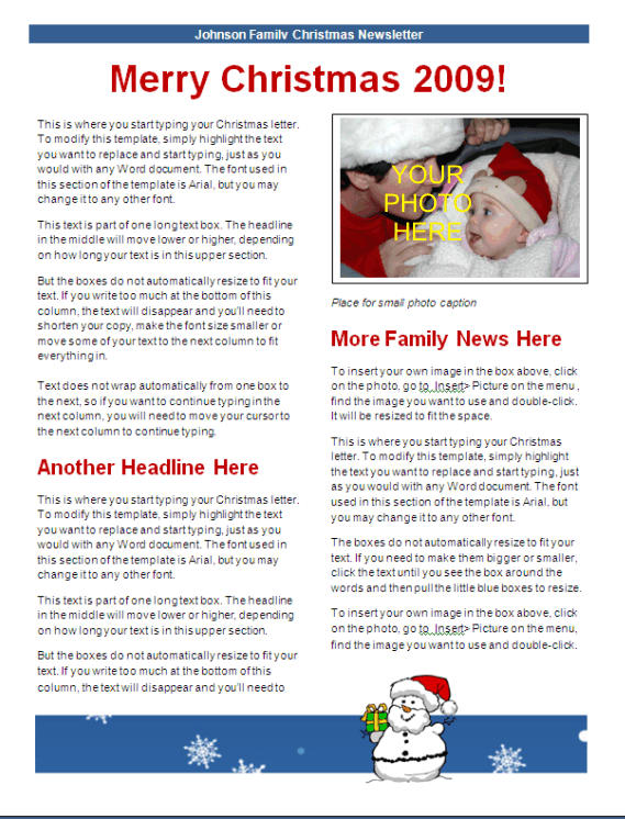 Christmas Newsletter Template - blue snowman design Other Files