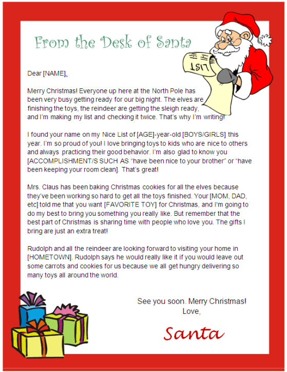 Santa Letter Template - Desk of Santa Design Other Files