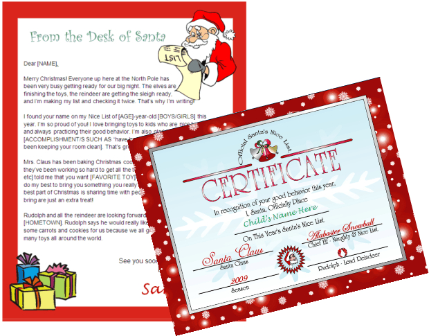 Printable Letter from Santa and Nice List Certificate Other Files