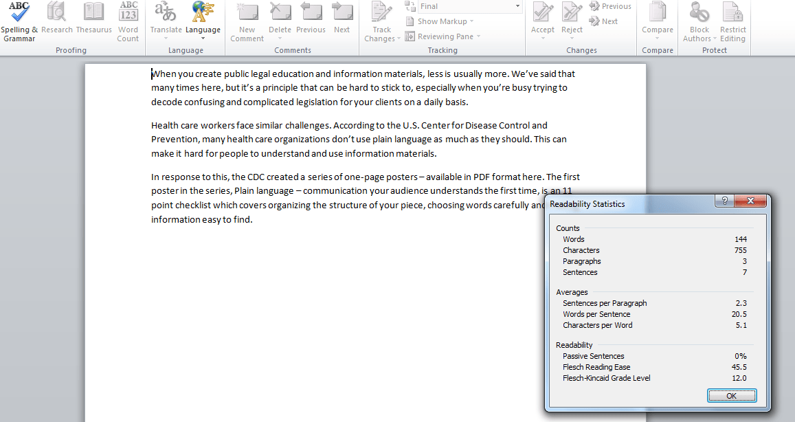 This is a screenshot from MS Word 2010 taken on January 29, 2015 which displays the MS Word readbility tool.