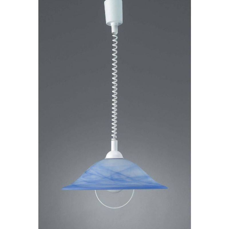 Suspension Cuisine Verre Glass Pendulum Blue Adjustable Height Kitchen Light