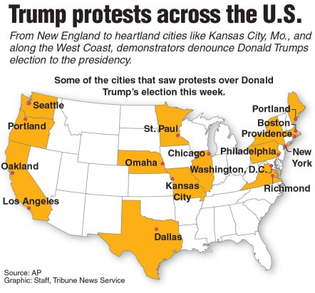 Locator map showing the Trump protester across the U.S. Wednesday night.