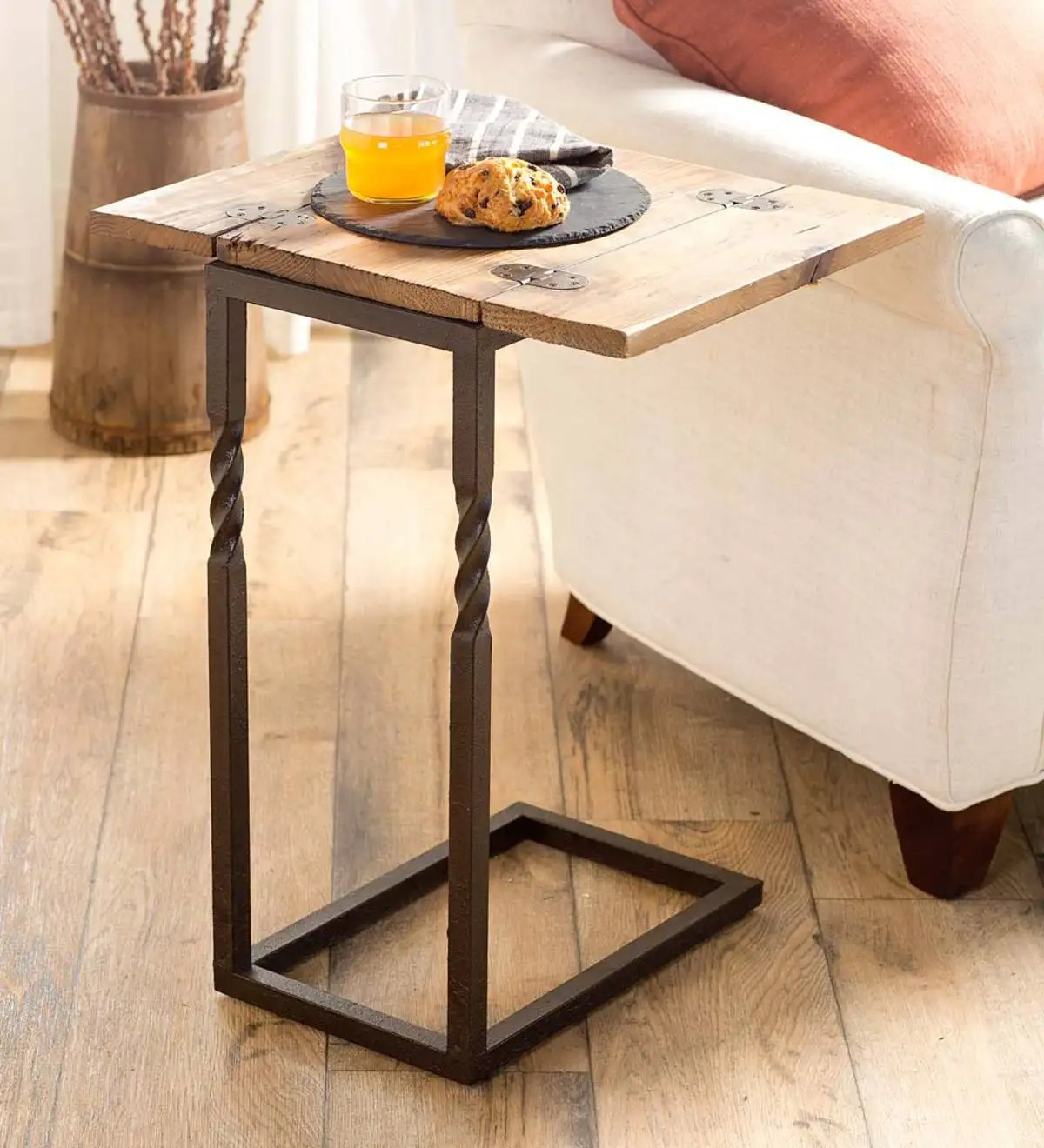 Rustic Wood End Table Deep Creek Pull Up Table In Rustic Wood And Metal