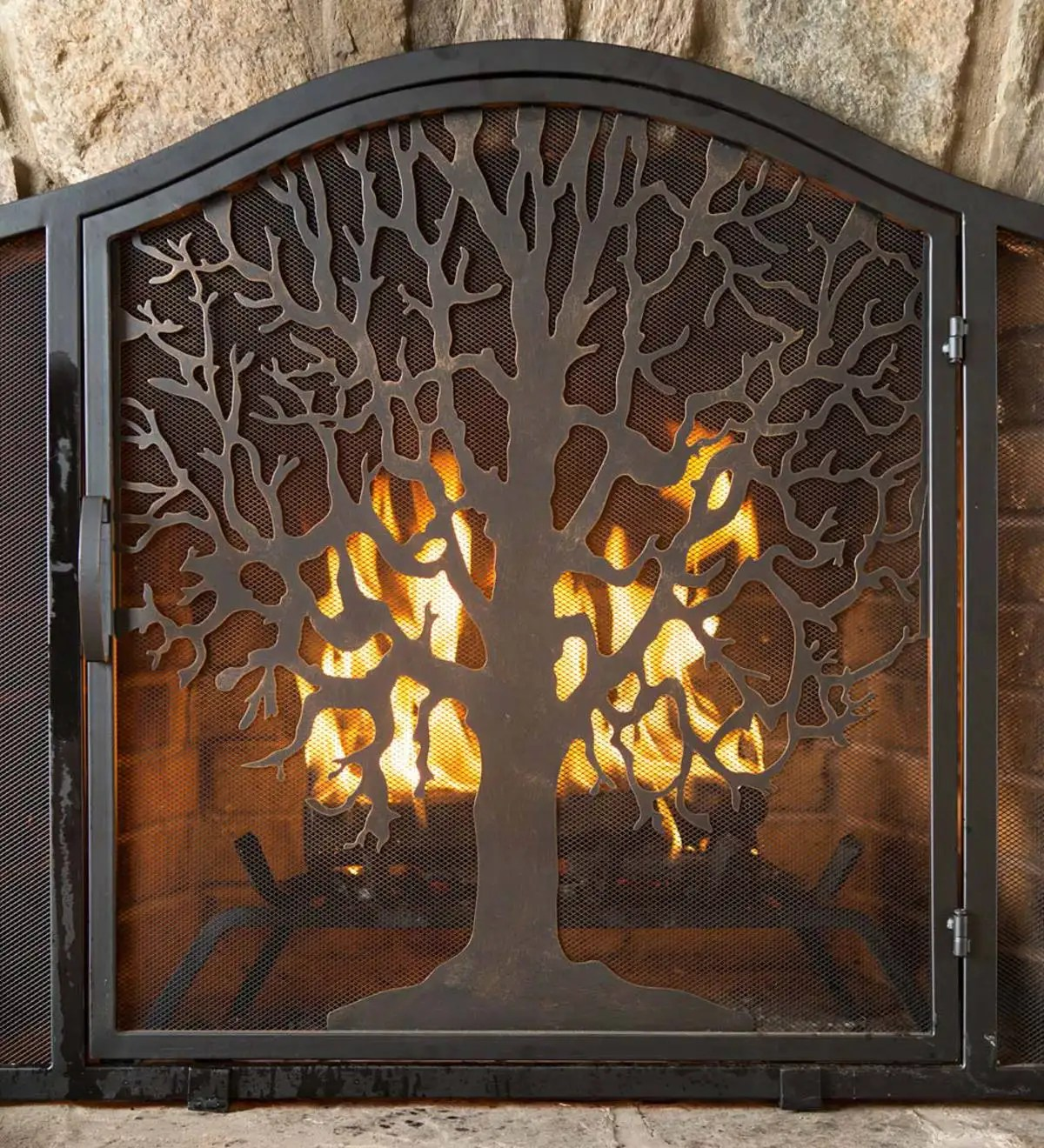 Fireplace Screens Tree Design Small Tree Of Life Fire Screen With Door Collection
