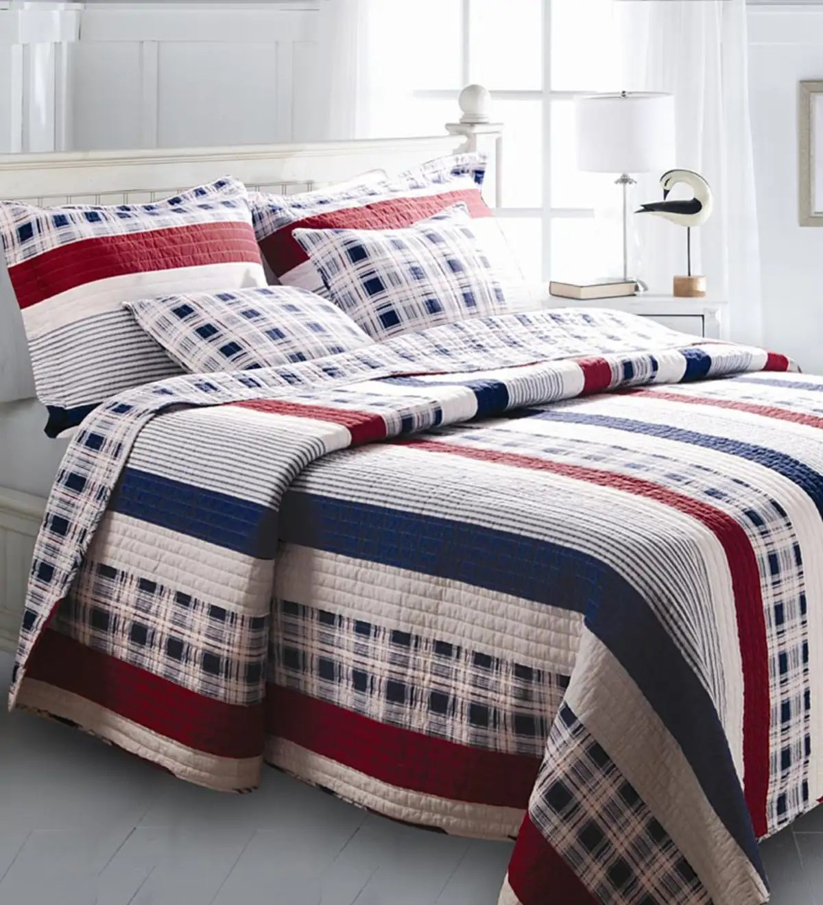 Quilt Cover King King Americana Stripe Quilt Set