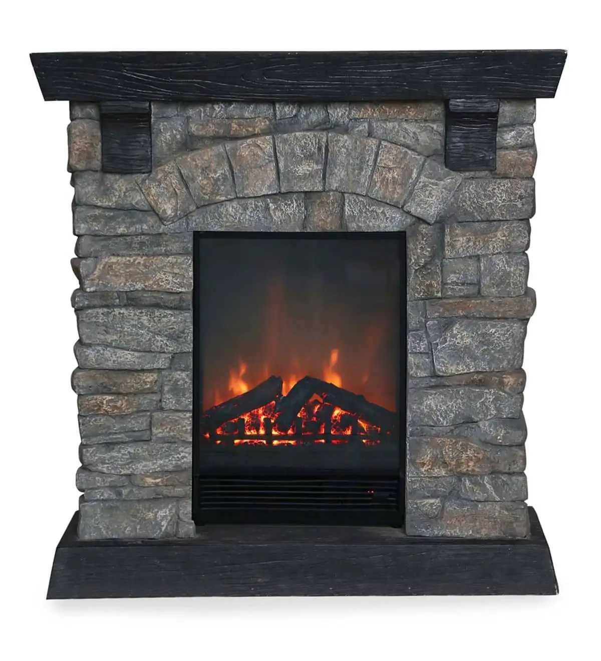 Gas Vs Electric Fireplace Pros And Cons Rockbridge Stacked Stone Electric Fireplace Heater Plowhearth