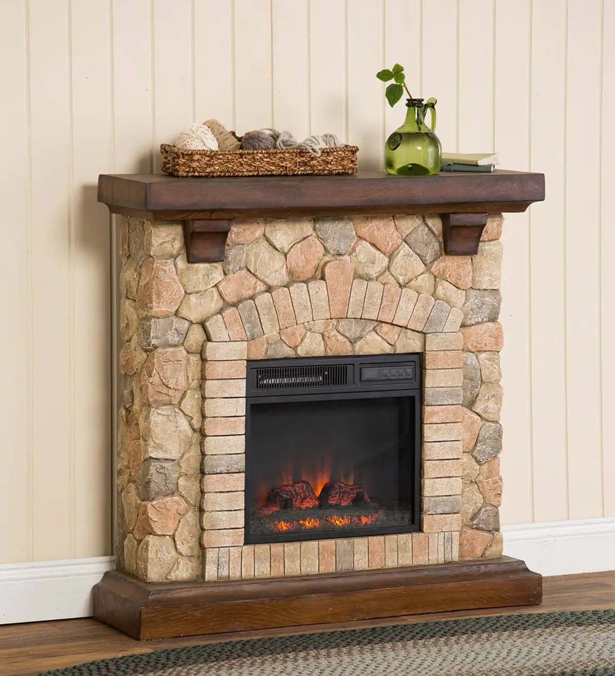Plug In Electric Fireplaces Stacked Stone Electric Infrared Quartz Fireplace Heater