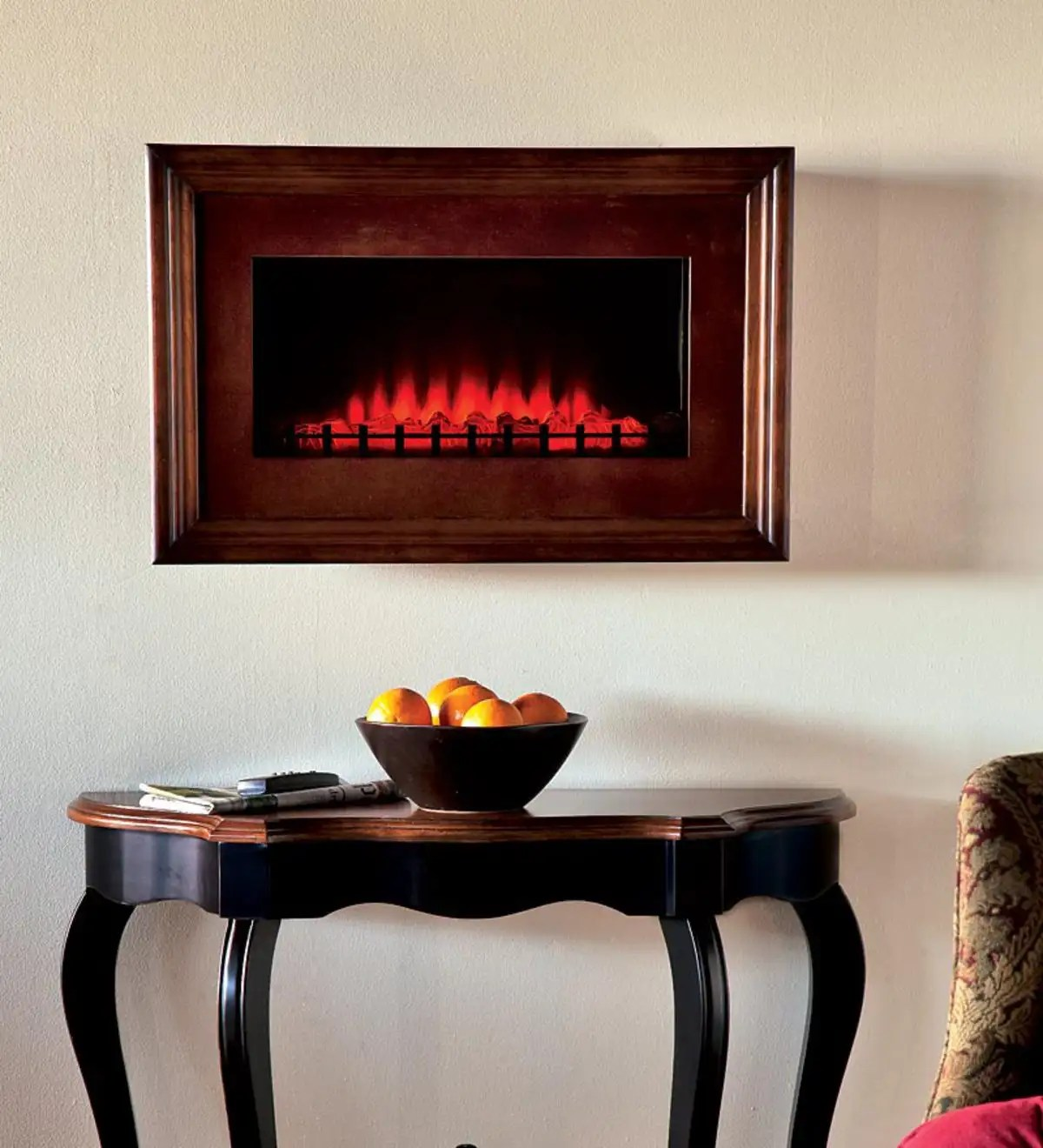 Wall Mount Fireplaces Walnut Finished Wood Framed Electric Wall Mount Fireplace Plowhearth