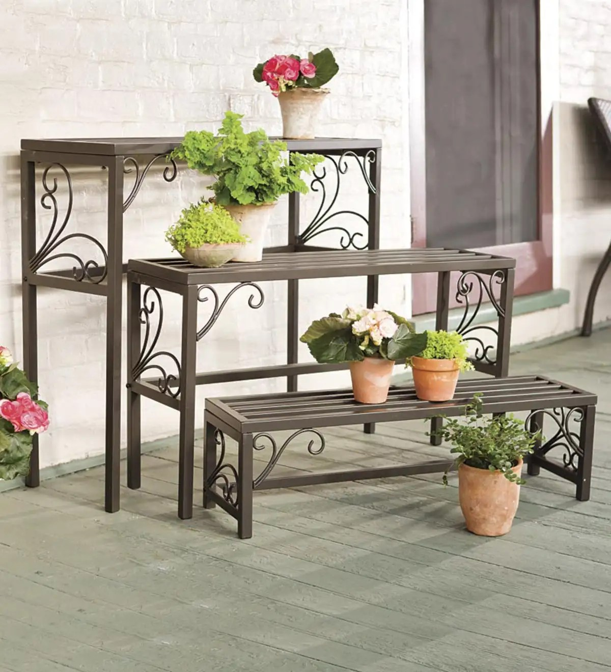 Planting Tables For Sale Nesting Metal Plant Stands With Scrollwork Set Of Three