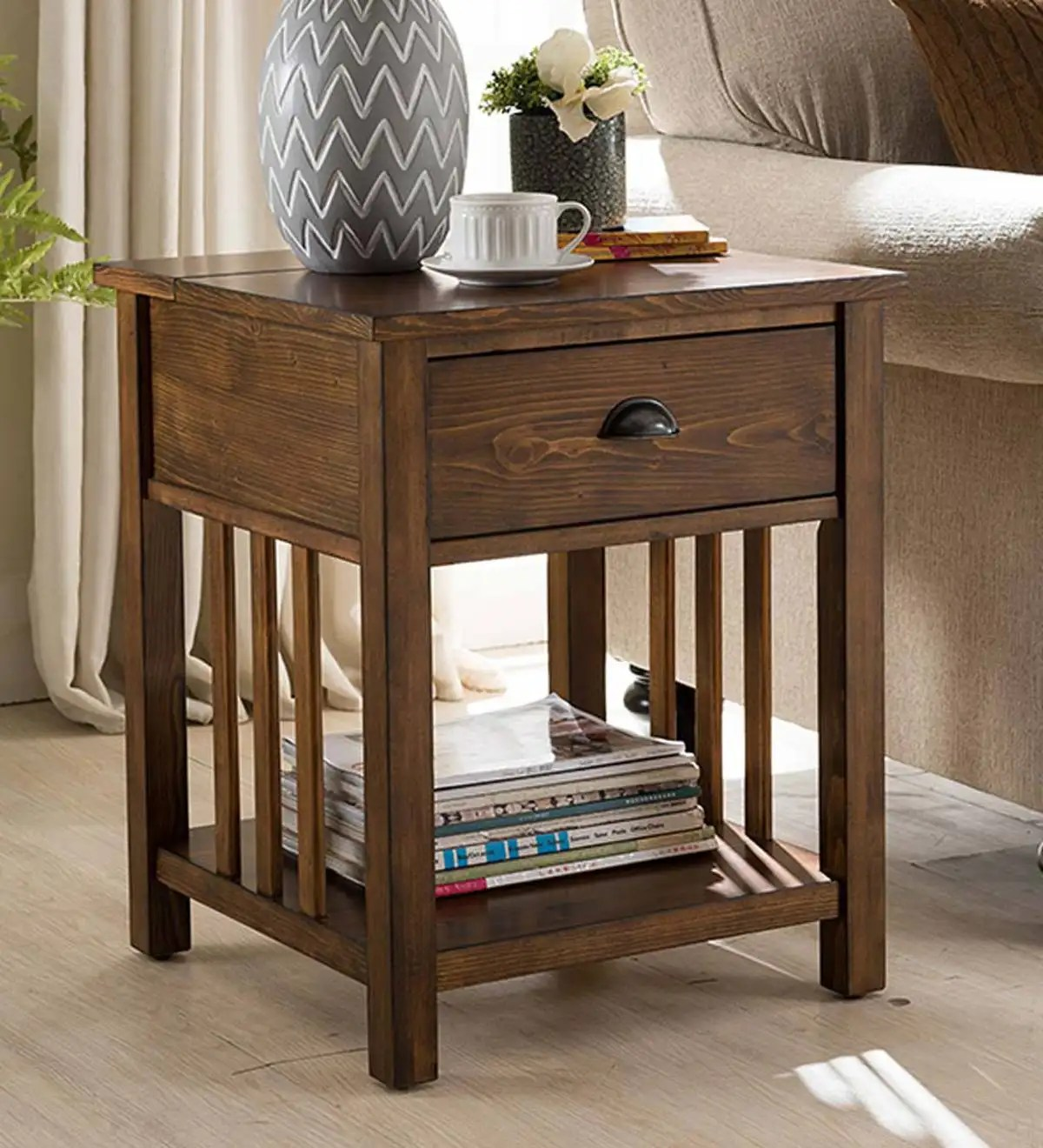 Arts And Crafts Mission Side Table With Charging Station Oak Plowhearth