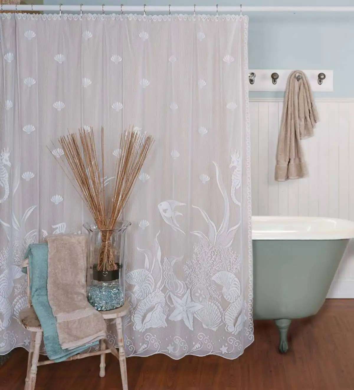 Usa Shower Curtain Usa Made Seascape Lace Shower Curtain Plowhearth