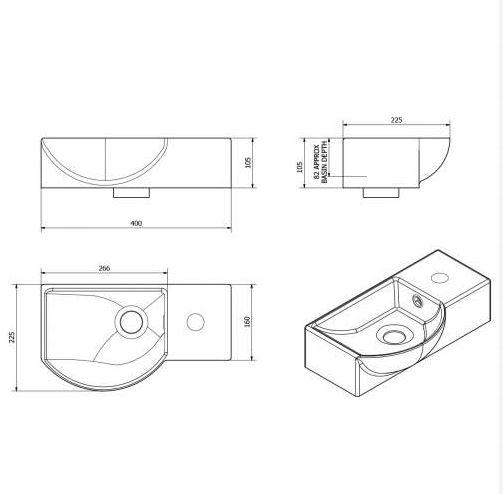 400MM Modern Wide Side Tap Vessel Basin \u2013 Plumbworkz