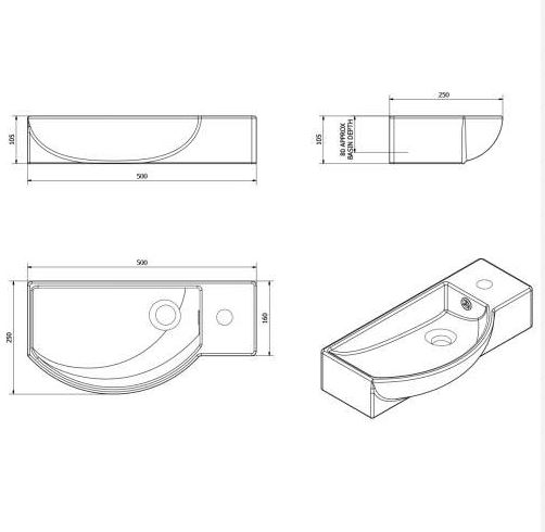 500MM Modern Wide Side Tap Vessel Basin \u2013 Plumbworkz