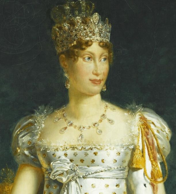 Détail d'un portrait de l'Impératrice commencé en 1810 par François Gérard et achevé sous la Restauration - Musée du château de Versailles et de Trianon