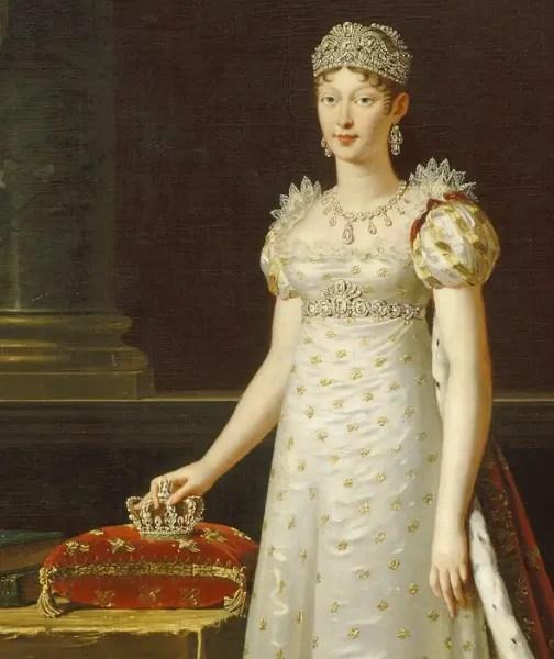 Détail d'un portrait de Marie-Louise peint par Robert Lefèvre en 1812 - Musée du château de Versailles et de Trianon
