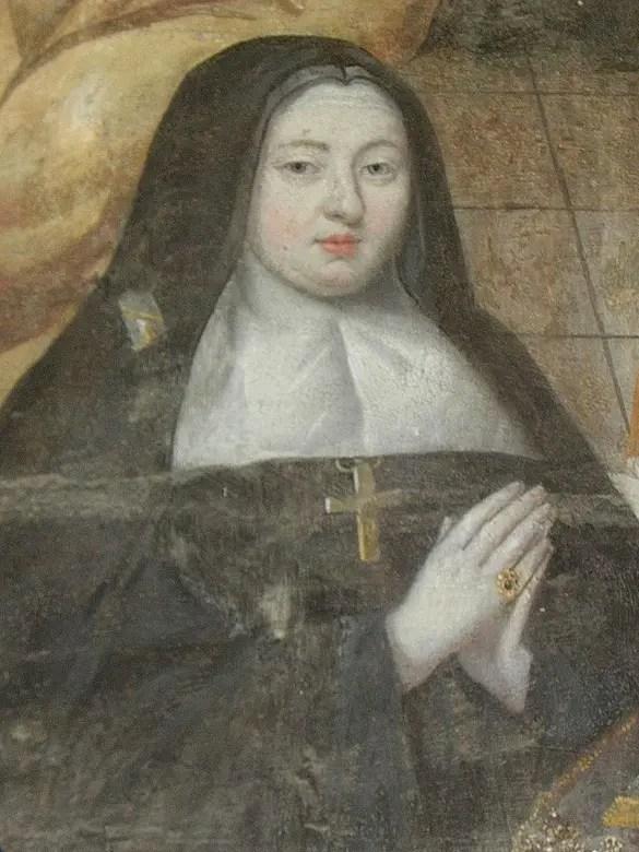Détail d'une fresque de Thomas Pot où l'on aperçoit Marie-Madeleine, abbesse de Fontevrault