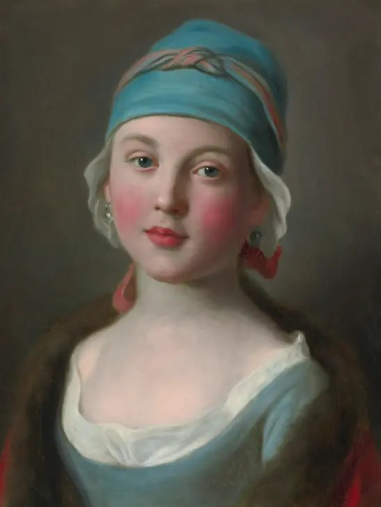 Jeune fille russe avec robe et coiffe bleues, par Antonio Rotari