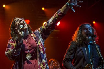 Brittany Howard of the Alabama Shakes and Jim James of My Morning Jacket performing during the Rock n' Soul Dance Party Superjam at Bonnaroo Music Festival in Manchester, Tennessee on June 15, 2013 - © 2013 David Oppenheimer - Performance Impressions Concert Photography Archives - http://www.performanceimpressions.com