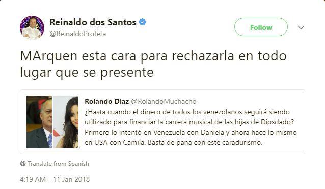Reinaldo Dos Santos cree que Camila Cabello es hija de Diosdado Cabello. Cusica Plus.