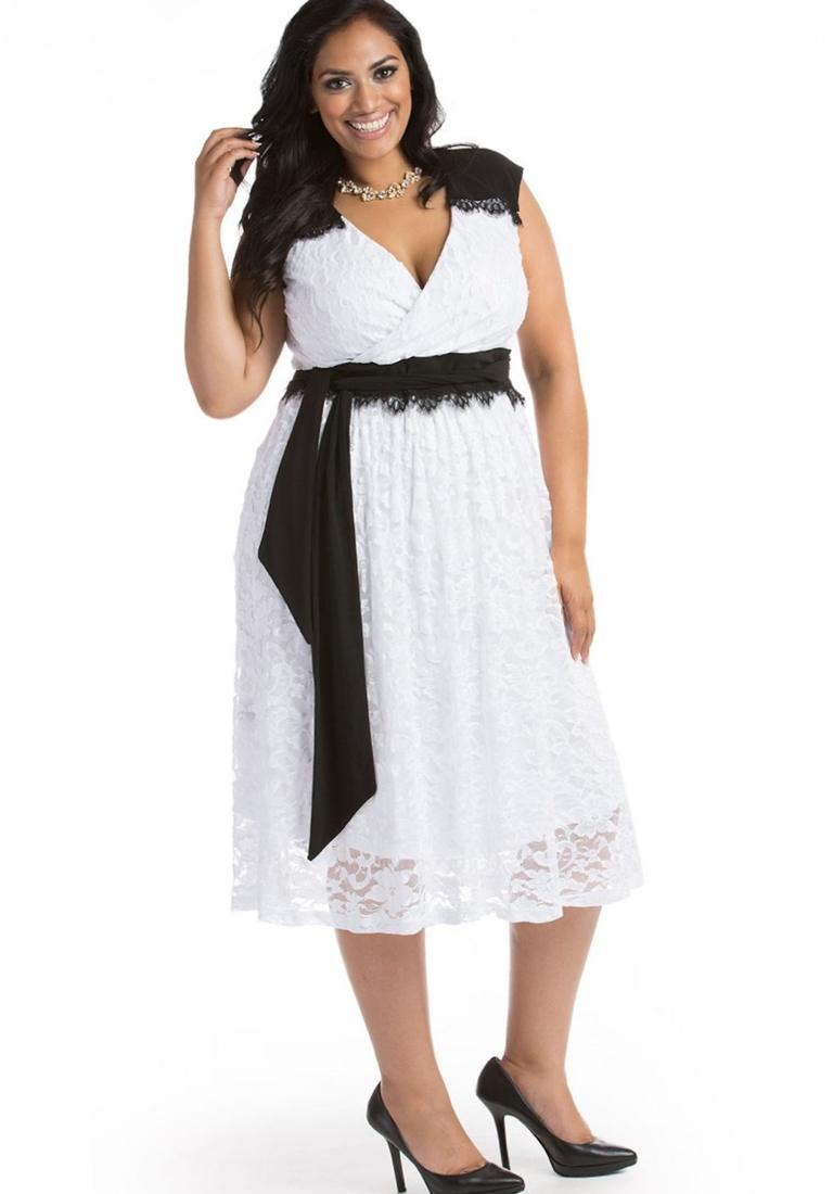 All white dress plus size