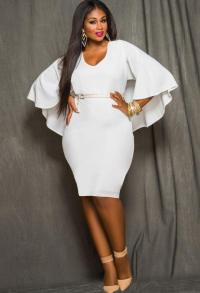 Plus Size All White Party Dress - Holiday Dresses